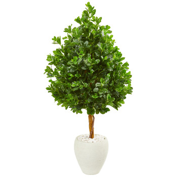 59 Evergreen Artificial Tree in White Planter - SKU #9375