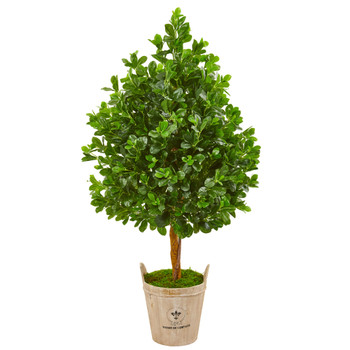 57 Evergreen Artificial Tree in Farmhouse Planter - SKU #9377