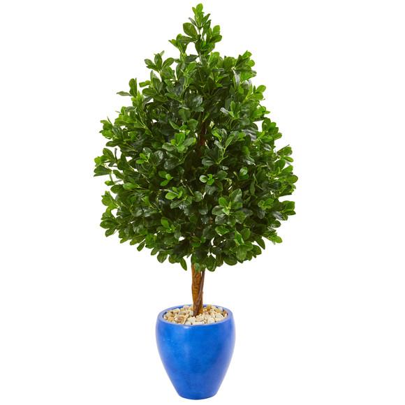 57 Evergreen Artificial Tree in Blue Planter - SKU #9378