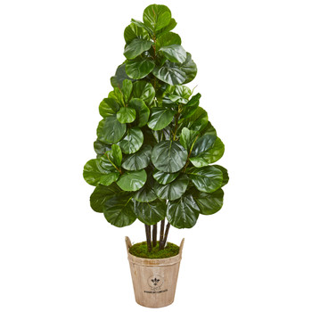 5 Fiddle Leaf Fig Artificial Tree in Farmhouse Planter - SKU #9379