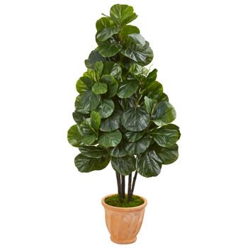 58 Fiddle Leaf Fig Artificial Tree in Terra Cotta Planter - SKU #9380