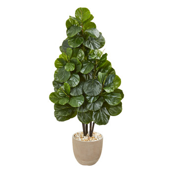 58 Fiddle Leaf Fig Artificial Tree in Sand Stone Planter - SKU #9381