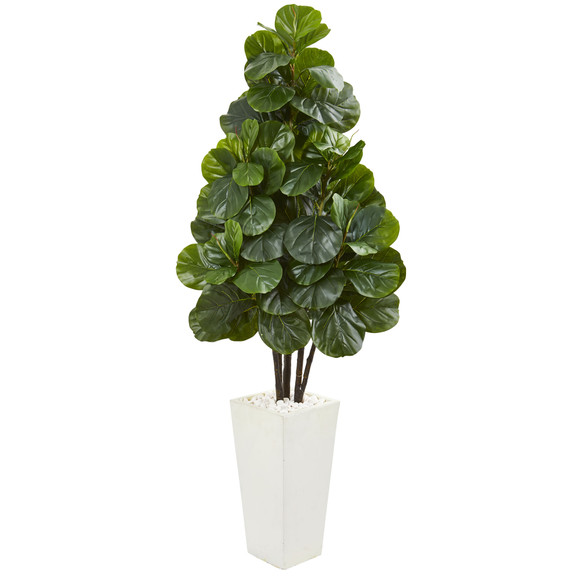 68 Fiddle Leaf Fig Artificial Tree in White Tower Planter - SKU #9382