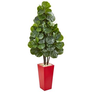 58 Fiddle Leaf Fig Artificial Tree in Red Tower Planter - SKU #9383