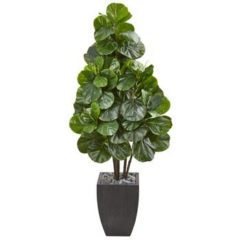 63 Fiddle Leaf Fig Artificial Tree in Black Planter - SKU #9384
