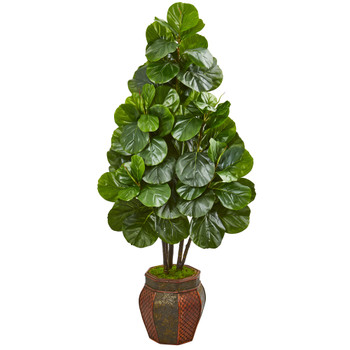 5 Fiddle Leaf Fig Artificial Tree in Decorative Planter - SKU #9385