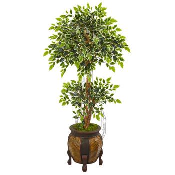59 Variegated Ficus Artificial Tree in Decorative Planter - SKU #9388