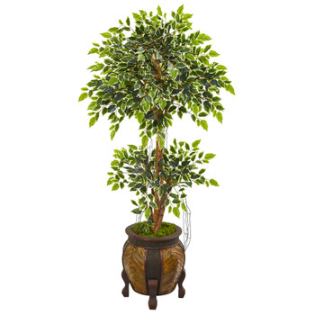 59 Variegated Ficus Artificial Tree in Decorative Planter - SKU #9388