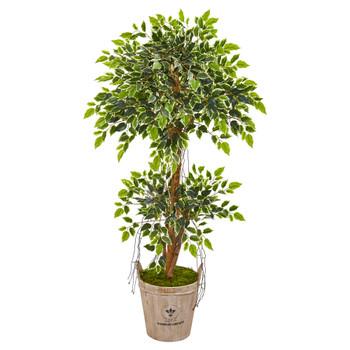 4.5 Variegated Ficus Artificial Tree in Farmhouse Planter - SKU #9389