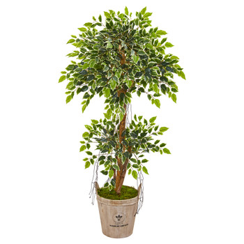 4.5 Variegated Ficus Artificial Tree in Farmhouse Planter - SKU #9389