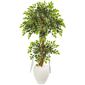56 Variegated Ficus Artificial Tree in White Planter - SKU #9392
