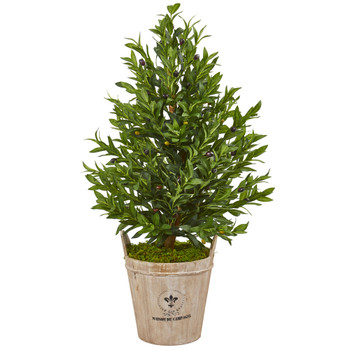 38 Olive Cone Topiary Artificial Tree in Farmhouse Planter - SKU #9394