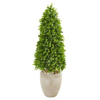 3.5 Eucalyptus Topiary Artificial Tree in Sand Colored Planter Indoor/Outdoor - SKU #9395