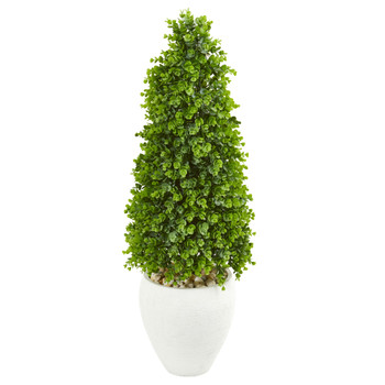 41 Eucalyptus Cone Topiary Artificial Tree in White Planter Indoor/Outdoor - SKU #9396