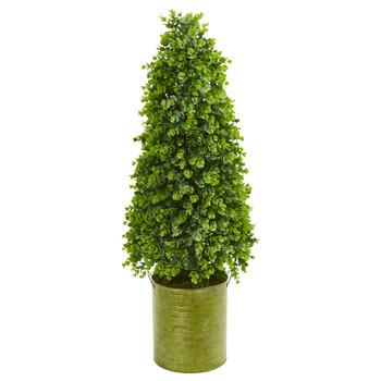 41 Eucalyptus Cone Topiary Artificial Tree in Metal Planter Indoor/Outdoor - SKU #9397