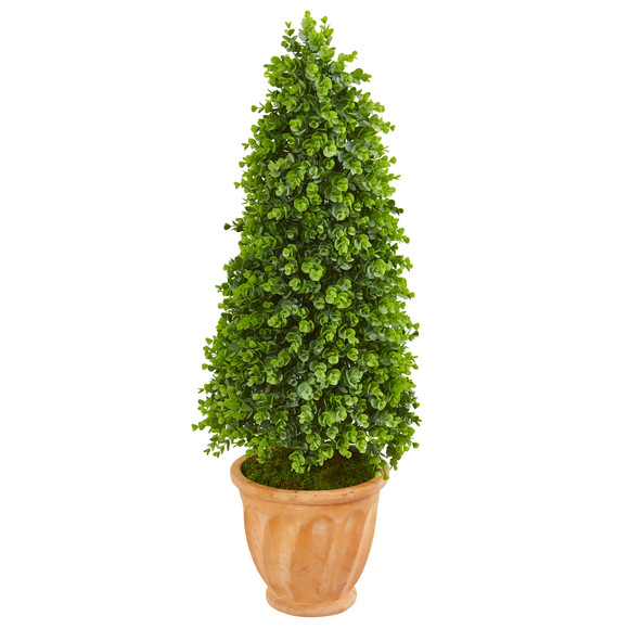 40 Eucalyptus Cone Topiary Artificial Tree in Terra Cotta Planter Indoor/Outdoor - SKU #9398