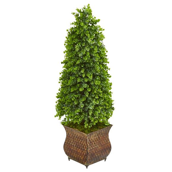 41 Eucalyptus Cone Topiary Artificial Tree in Metal Planter Indoor/Outdoor - SKU #9399
