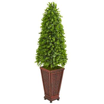 4 Eucalyptus Cone Topiary Artificial Tree in Decorative Planter - SKU #9400