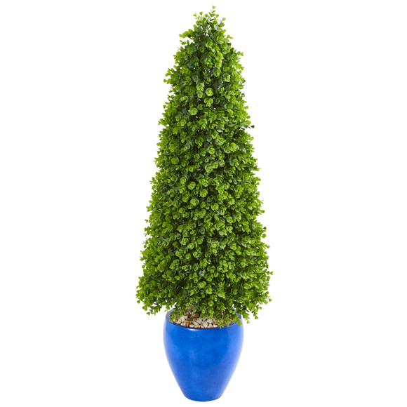 52 Eucalyptus Topiary Artificial Tree in Blue Planter Indoor/Outdoor - SKU #9402