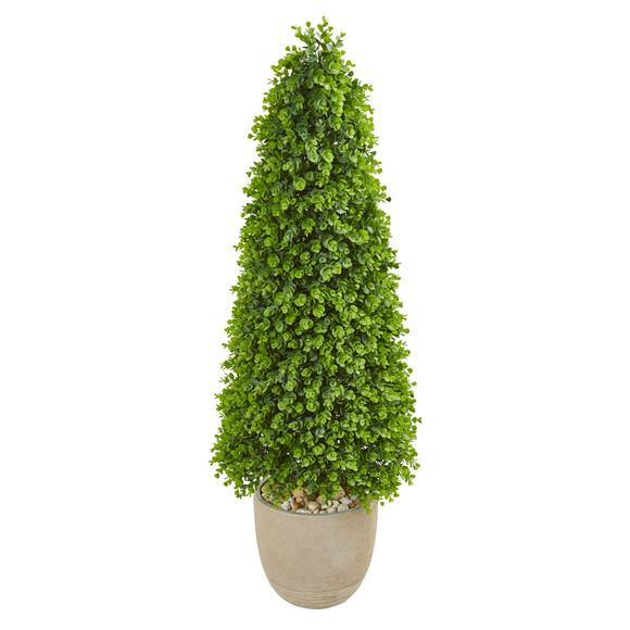 50 Eucalyptus Topiary Artificial Tree in Sandstone Planter Indoor/Outdoor - SKU #9403