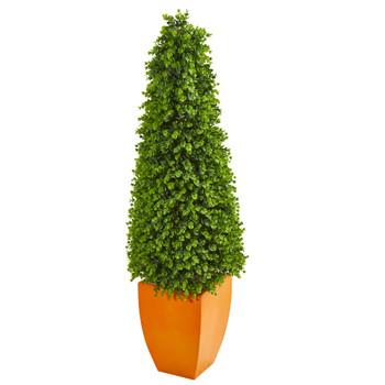 57 Eucalyptus Topiary Artificial Tree in Orange Planter Indoor/Outdoor - SKU #9404