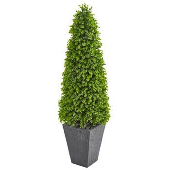 57 Eucalyptus Topiary Artificial Tree in Slate Planter Indoor/Outdoor - SKU #9405