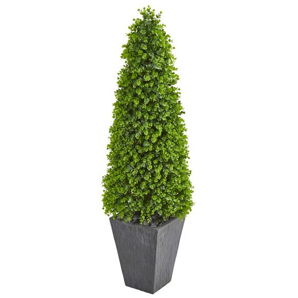 57 Eucalyptus Topiary Artificial Tree in Slate Planter Indoor/Outdoor - SKU #9405