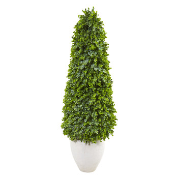 52 Eucalyptus Topiary Artificial Tree in White Planter Indoor/Outdoor - SKU #9406