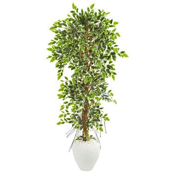 5.5 Elegant Ficus Artificial Tree in White Planter - SKU #9407