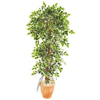 64 Elegant Ficus Artificial Tree in Terra Cotta Planter - SKU #9408