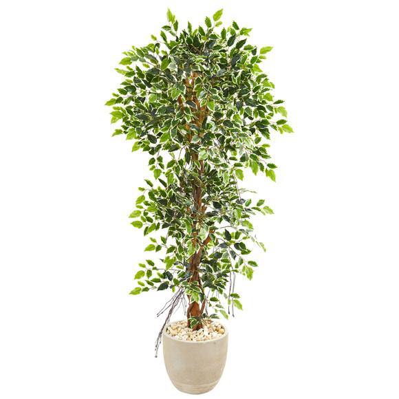 63 Elegant Ficus Artificial Tree in Sandstone Planter - SKU #9409