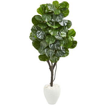 68 Fiddle Leaf Fig Artificial Tree in White Planter - SKU #9410
