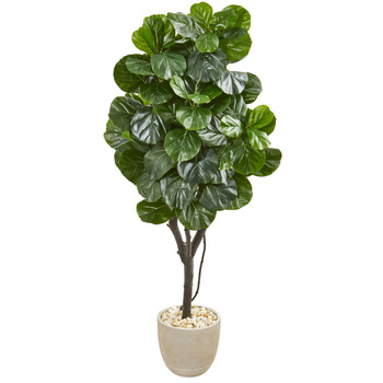 67 Fiddle Leaf Fig Artificial Tree in Sand Stone Planter - SKU #9411