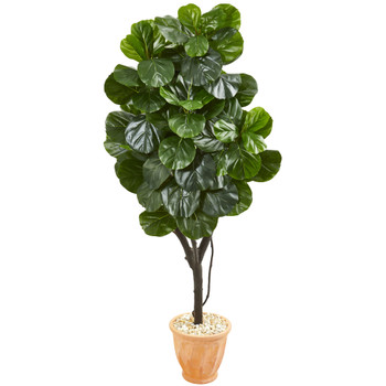 65 Fiddle Leaf Fig Artificial Tree in Terra Cotta Planter - SKU #9412