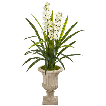 56 Cymbidium Orchid Artificial Plant in Urn - SKU #9413