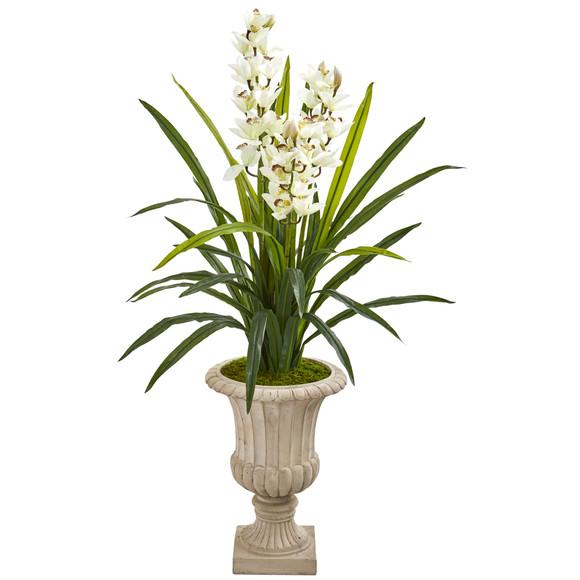 56 Cymbidium Orchid Artificial Plant in Urn - SKU #9413
