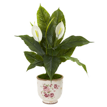 38 Spathifyllum Artificial Plant in Decorative Vase - SKU #9414
