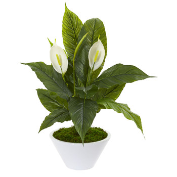 27 Spathifyllum Artificial Plant in White Vase - SKU #9415
