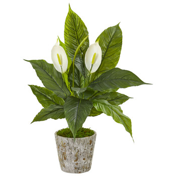 29 Spathifyllum Artificial Plant in Weathered Oak Planter - SKU #9416