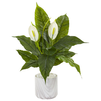 27 Spathifyllum Artificial Plant in Marble Vase - SKU #9417