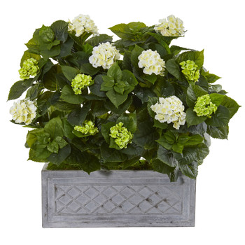 33 Hydrangea Artificial Plant in Stone Planter - SKU #9418