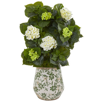 35 Hydrangea Artificial Plant in Decorative Vase - SKU #9419