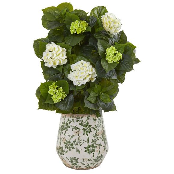 35 Hydrangea Artificial Plant in Decorative Vase - SKU #9419