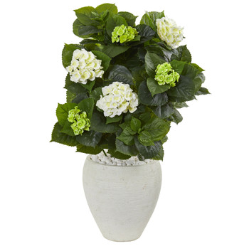 33 Hydrangea Artificial Plant in White Planter - SKU #9420