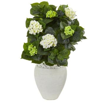 33 Hydrangea Artificial Plant in White Planter - SKU #9420