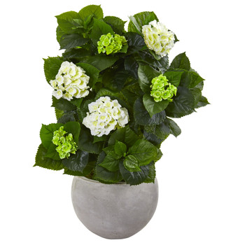 30 Hydrangea Artificial Plant in Sand Stone Bowl - SKU #9421