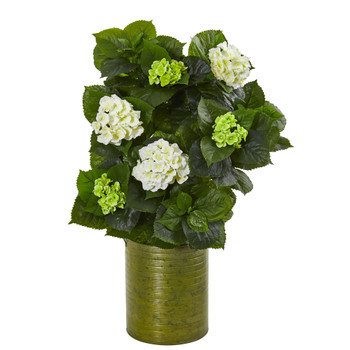 32 Hydrangea Artificial Plant in Metal Green Planter - SKU #9422