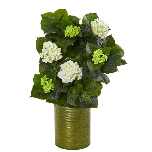 32 Hydrangea Artificial Plant in Metal Green Planter - SKU #9422