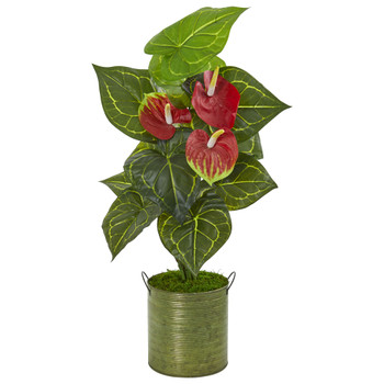 29 Anthurium Artificial Plant in Metal Planter Real Touch - SKU #9424