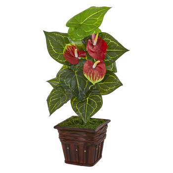 29 Anthurium Artificial Plant in Decorative Planter Real Touch - SKU #9425